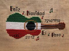Ornament #6-(finished 03Jan13), Feliz Navidad from Casey Buonaugurio Designs Just Cross Stitch Ornament Issue, changed it to commemorate my year with the 7240th MSU Ft Bliss, TX!!  Great unit, fun times!!