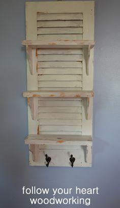 Shutter Repurposed Into Shelves