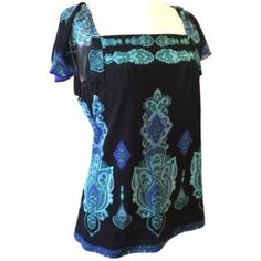 INC International Concepts Top Green Blue Black INC International Concepts Top Green Blue Black Paisley INC International Concepts Tops