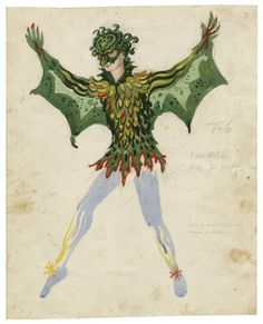 Cyril Walter Hodges. Costume for Ariel as Harpy. The Tempest. Folger Shakespeare Library.
