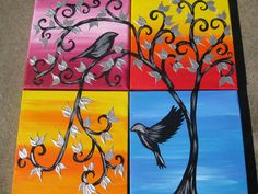 tiny paintings on canvas little painting art by TheCateEscape, $48.80
