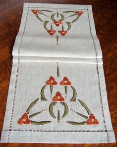Hand Embroidered Table Runner Arts and Crafts by paintbythread, $385.00