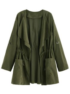Shop Olive Green Drape Collar Drawstring Coat online. SheIn offers Olive Green Drape Collar Drawstring Coat & more to fit your fashionable needs.