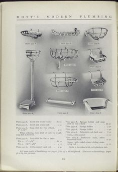 Mott's Iron Works 1911 bath catalog. Plate 3549 - A to Plate 3610 - A. Comb and brush holder, sponge holder, bath seat and bathroom scale.
