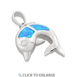 Sterling Silver Opal Dolphin Pendant