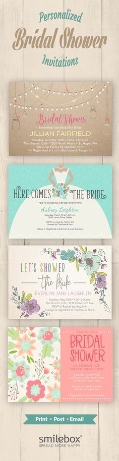 Set the tone for a delightful celebration of the bride-to-be with an original and personalized shower invitation. Choose from a variety of shower invitation designs, Add event details, then customize with photos and music - and share or print out!