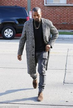 Get yourself a grey coat like Kanye West for cold Fall days