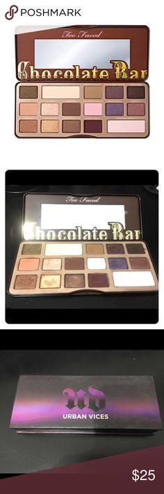 Too Faced Chocolate Bar eyeshadow palette bundles Too Faced Chocolate Bar eyeshadow palette bundled with Urban Decay Vices sampler eyeshadow palette. Lightly used! Too Faced Makeup Eyeshadow