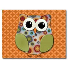 Cute Floral Owl on Orange Postcard.  Personalize with you own text on front and back.