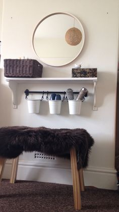 Cheaper alternative to a dressing table. IKEA - fintorp rail, hensvik shelf, skogsta stool with skold fur rug, skogsvag mirror and gabbig basket