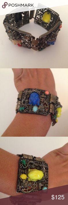1950s Bracelet- Vintage Selro Selini One of the best vintage bracelets I have seen! Questions please ask!  Vintage Selro Selini Asian Princess Panel Bracelet 1950s Jewelry Bracelets