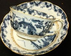 Crown Staffordshire WILLOW Oriental antique cup and saucer