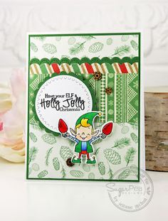 Card by Jenna Jachnal for SugarPea Designs.  Stamps: Merry Makers.  SugarCut Dies: Merry Makers and Zig Zag Stitched Circles