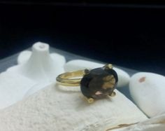 SALE! Smoky quartz ring,delicate ring,gold ring,prong round ring,gemstone ring,cocktail brown ring,small ring,gold filled ring