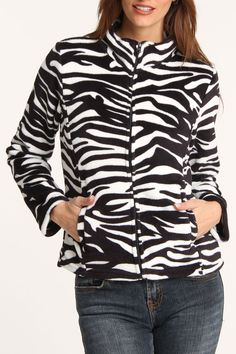 Carol Rose Amanda Fleece Jacket In Zebra - Add a little fun to your fleece jackets.