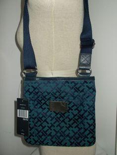 NWT Tommy Hilfiger Small Crossbody Shoulder Bag Purse Sm Block TH Logo Blue/Aqua #TommyHilfiger #MessengerCrossBody