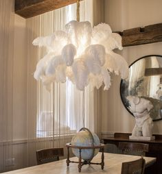 The Ostrich Feather Chandelier from A Modern Grand Tour takes centre stage in any luxury setting, giving a soft finish to your interior. Chandelier Floor Lamp, Luxury Chandelier, Chandelier In Living Room, Luxury Lighting, Chandelier Ideas, Floor Lamps, Chandeliers, Gold Chandelier, Vintage Chandelier