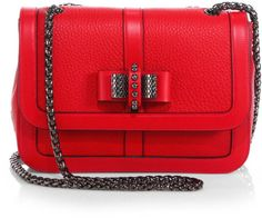 Christian Louboutin Sweet Charity Bowdetail Leather Flap Bag in Red (ROUGE)