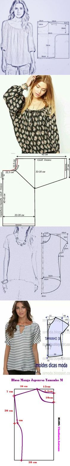simple tops--should be easy to alter size Diy Clothing, Clothing Patterns, Dress Patterns, Sewing Patterns, Sewing Clothes, Fashion Sewing, Diy Fashion, Make Your Own Clothes, Couture Sewing