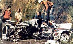 Attilio Bettega - Maurizio Perissinot 26º Tour de Corse 1982. Lancia Rally 037. Retirado por accidente. En la foto Attilio se encuentra aún dentro del coche esperando la asistencia médica para que le saquen del interior. Resultado del accidente, Attilio las 2 piernas rotas y Maurizio heridas y contusiones leves.