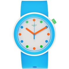 Swatch Unisex Pop Sky Blue Silicone Strap Watch 41mm PNW102 ($85) ❤ liked on Polyvore featuring jewelry, watches, blue, blue jewelry, blue watches, unisex watches, swatch watches and swatch wrist watch