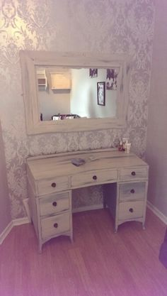 Upcycled shabby chic dresser and mirror... Heavily distressed....