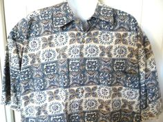 Kahala Mens Hawaiian Shirt Large L Blue Gold Hibiscus Flowers 100% Cotton #Kahala #ButtonFront