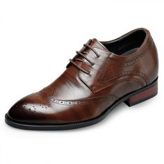 Designer Wing Tip Taller Elevator Brogue Shoes Brown Height 2.6inch / 6.5cm