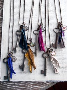 Vintage Skeleton Key Necklace Wholesale by amandadaviewholesale Vintage Keys, Vintage Jewelry, Skeleton Key Necklace, Tassel Necklace, Pendant Necklace, Baubles And Beads, Textile Jewelry, Homemade Jewelry, Jewelry Design