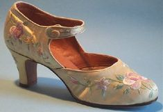 I have a pair very similar to this for sale! vintagesmart@vintagesmart.co.uk ~Chinese silk embroidered pump made for the Western market - c. 1927~