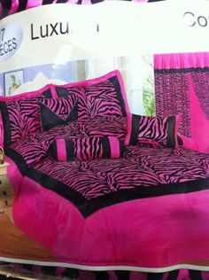 7 Piece Luxury Flocking King Size Pink Zebra Comforter Set by AHF. $57.95. Pink and Black colors. King size. 7 Pc. set. Beautiful and brand new design. 7 Piece Luxury Flocking King Size Pink Zebra Comforter Set