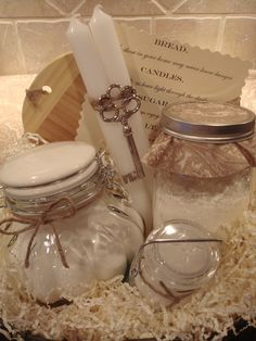"Traditional Housewarming Basket from ""House of Hubbard"" on Etsy...Salt-so your life always has flavor, Sugar-so you always enjoy the sweetness of life, Bread-so those in your home may never know hunger, Candles-so you always have light through the darkest times, Wood-so your home always has stability, harmony, and peace."