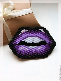 "Buy Brooch ""Purple Lips "" - lips, kiss, sponge, brooch, a beaded brooch"