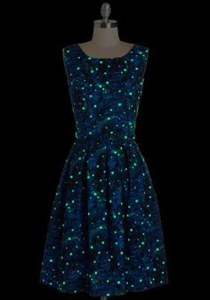 Just Be Cosmic Dress. You dont need a special occasion to wear the glow-in-the-dark stars of this ModCloth-exclusive dress by Bea Dot! #blue #modcloth