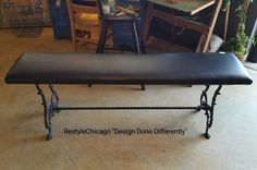Sturdy Iron & upholstered bench! 48 inches long! #restylechicago #reluxvintage #resaleshop #resale #vintageiron https://www.instagram.com/p/BUm8SWXgfDT/