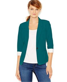 Teal blazer...could I pull this off? | kensie Three-Quarter-Sleeve Blazer - Jackets & Blazers - Women - Macy's