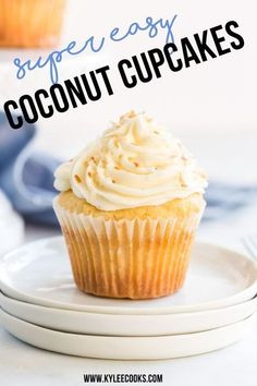 Light, fluffy coconut cupcakes with a creamy and dreamy frosting, topped with toasted coconut. Perfect for birthdays, special occasions or .. Tuesdays. #coconut #cupcakes #baking #celebration #birthday #kyleecooks Easy Cupcake Recipes, Homemade Desserts, Best Dessert Recipes, No Bake Desserts, Easy Desserts, Delicious Desserts, Sweet Recipes, Dinner Recipes, Cocktail Recipes