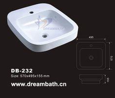 Product Name:Ceramic Vessel Sink  Model No.: DB-232 Dimension: 570X495X155mm  (1 inch = 25.4 mm)  Volume: 0.058CBM  Gross Weight: 15KGS  (1 KG ≈ 2.2 LBS) Sink shape: Rectangular