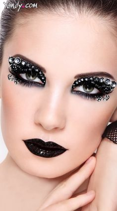 The midnight eye kit includes black glitter eyes with silver jewel studs, lower lid stickers, glitter goo, false eyelashes and lash glue. Punk Makeup, Eye Makeup Art, Makeup Kit, Makeup Ideas, Gem Makeup, Exotic Makeup, Eye Art, Makeup Style, Beauty Makeup
