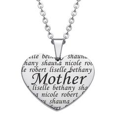 Zales Family Mother Heart Pendant in Stainless Steel (5 Names) - 20 ZCeMMU1