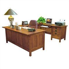 Anthony Lauren Craftsman Home Office Executive Desk with Return | Wayfair