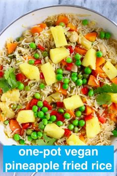 This Vegan Pineapple Fried Rice is fruity and tangy, full of flavour and made in one pot! Gluten-free, refined sugar free and includes a tutorial for how to prepare and cut up a fresh pineapple. Vegan Recipes Easy, Whole Food Recipes, Vegetarian Recipes, Dinner Recipes, Cooking Recipes, Rice Recipes, Delicious Recipes, Soup Recipes, Dinner Ideas