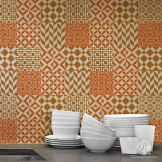 Geometric Modern Moroccan Tile Stencil Set for DIY Craft Projects, Stair Riser Designs, Painting Floor Tiles, or Kitchen Backsplash Stencil Wall Art, Tile Stencils, Stencil Designs, Diy Kitchen Decor, Kitchen On A Budget, Kitchen Ideas, Key Crafts, Moroccan Stencil, Moroccan Art