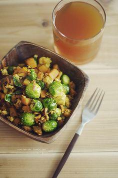 sweet potato & brussels tofu scramble #veganmofo
