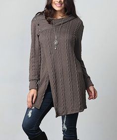 Look what I found on #zulily! Charcoal Cable Knit Asymmetrical Button Hooded Tunic - Plus #zulilyfinds
