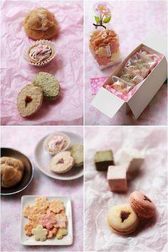 sakura rice crackers | Sakura (cherry blossom) treats: rice crackers, sakura cream puffs ...