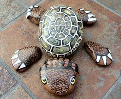 Turtle Painted Rocks - I love this! Turtle Painting, Pebble Painting, Pebble Art, Stone Painting, Rock Painting, Turtle Painted Rocks, Hand Painted Rocks, Painted Turtles, Painted Stones
