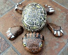 Puzzle-Turtle Painted Rocks | Painted Turtle