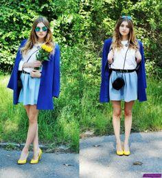 Mishmash Wardrobe - classic outfit, cobalt blazer and pastels!  Świetna stylizacja na lato: spódnica w kolorze baby blue plus kobaltowy żakiet i żółte szpilki!  #pastels #babyblue #skirt #cobalt #blazer  #yellow #heels #outfit #look
