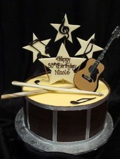 images of buttercream cakes with a guitar and drum | Pin by Michelle Sanford on Cake Designs & Tutorials! | Pinterest